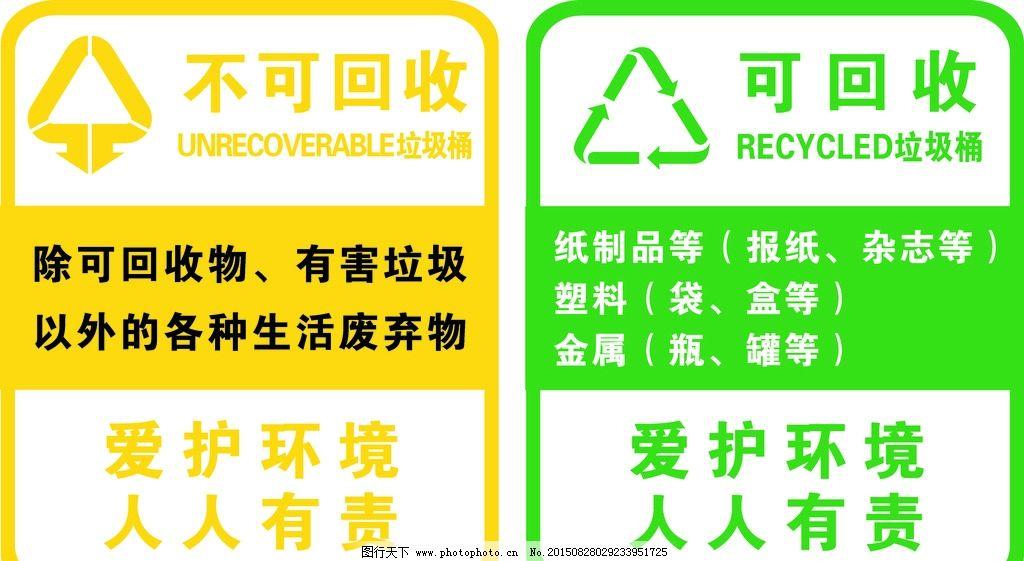 垃圾桶回收标识图片