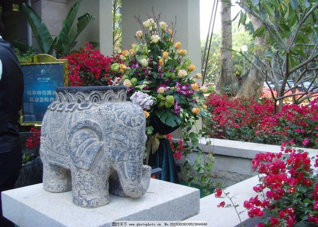 小品 象 雕像 花 景观图片