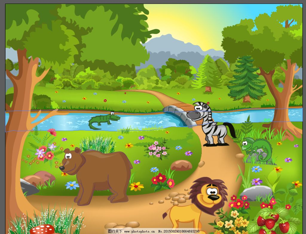 动物卡通场景图片