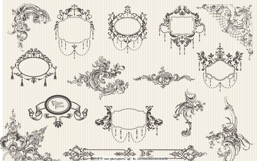 边框 装饰 图案 怀旧 复古 线条 花朵 花卉 玫瑰花 飘带 钥匙 边角