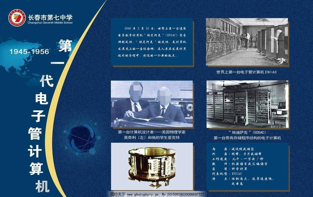 计算机海报图片,第一代计算机 莫奇利 蓝色展板 学校
