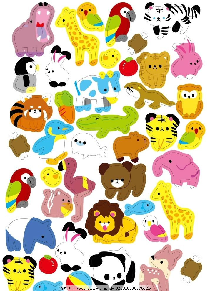 卡通 动物 动物园 可爱 q版 设计 动漫动画 其他 eps