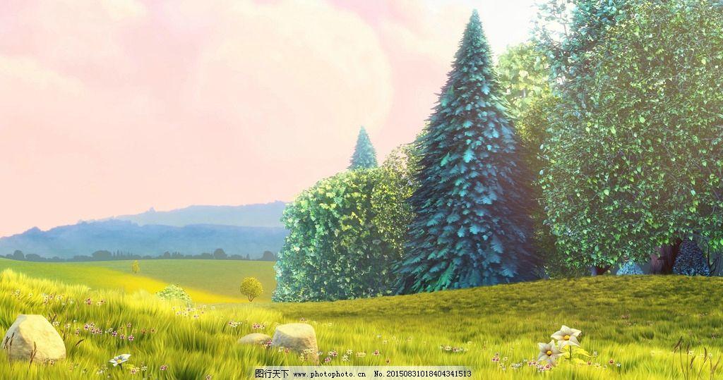漫画森林 草地 树木 蓝天 白云 小草 绿色 动画 小卡通 风景 光晕