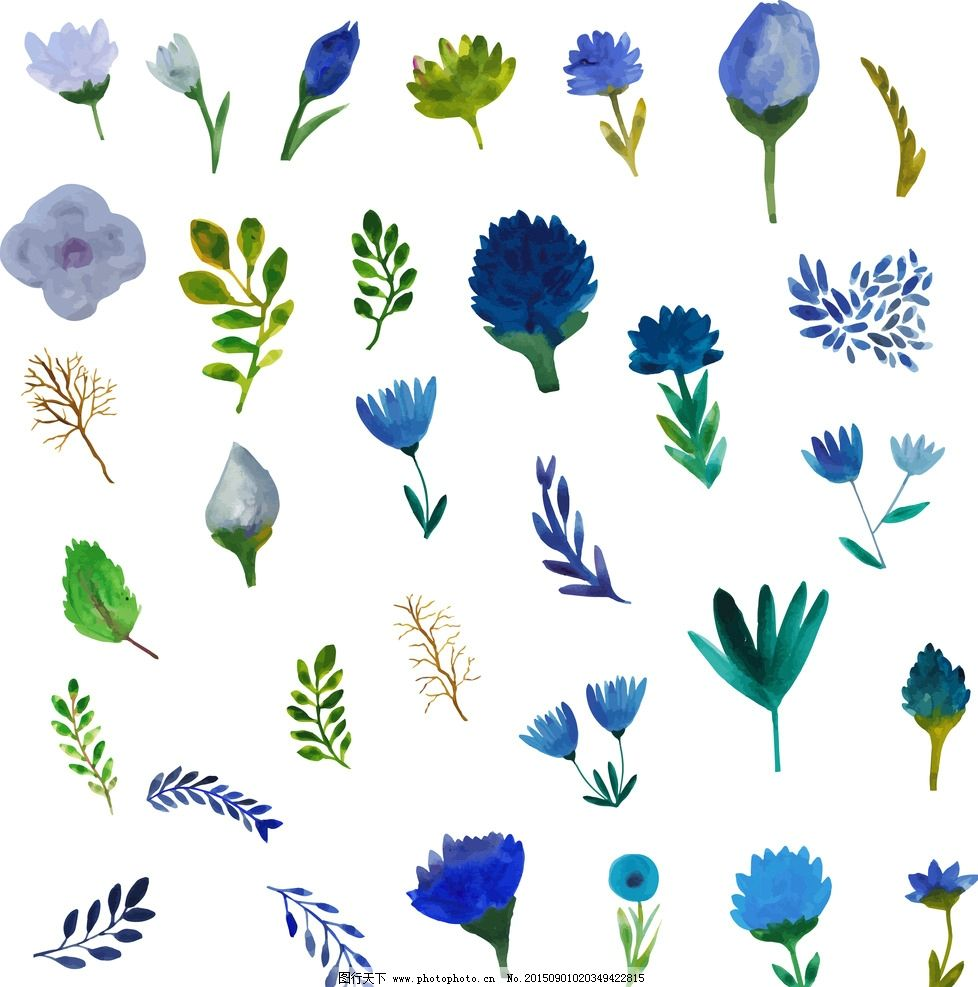 蓝色水彩风格小清新森系树叶花朵