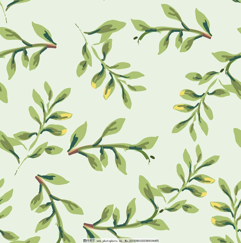 卡通小清新四方连续背景绿色树叶