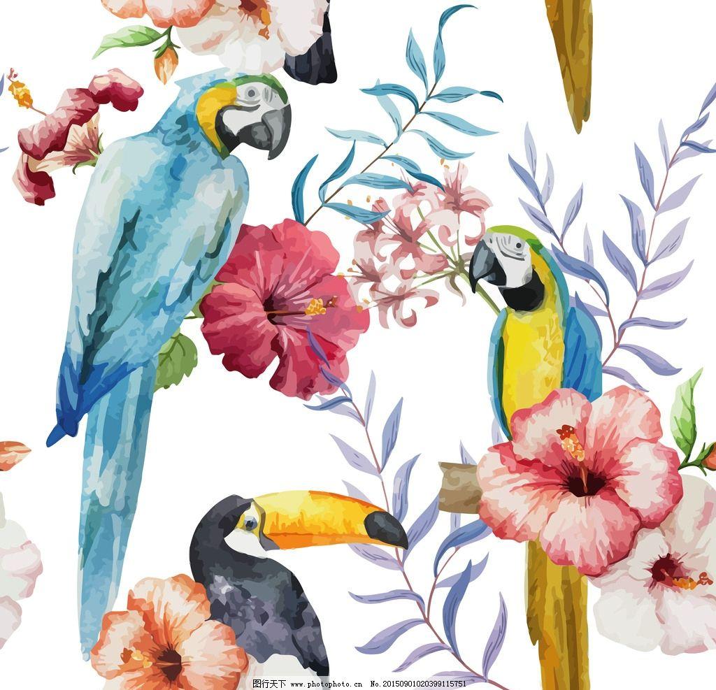 唯美热带水彩背景动植物鹦鹉绣球
