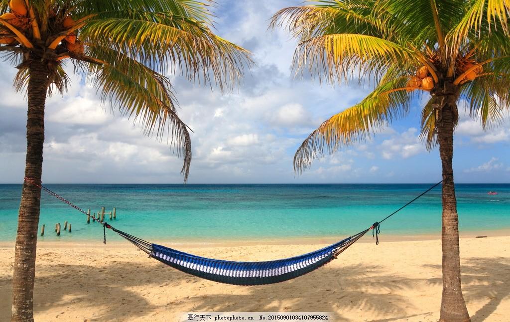 沙滩风光 蓝天白云 椰树 碧海 沙滩 海滩景色 风景壁纸 摄影 自然景观