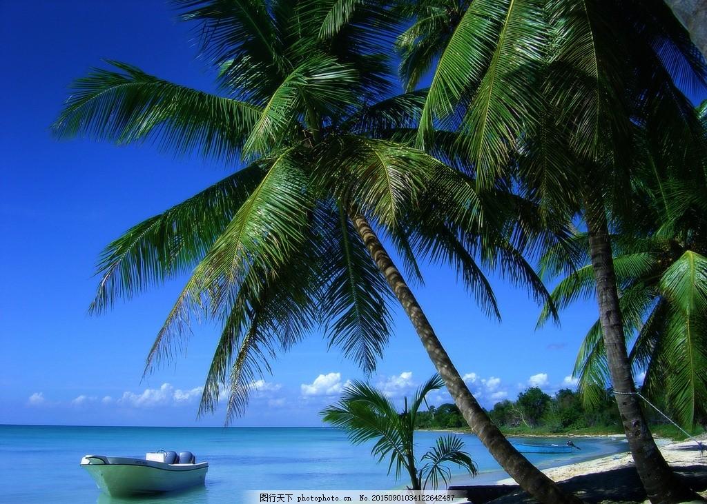 海滩风光 沙滩 碧海 椰树 蓝天白云 风景壁纸 摄影