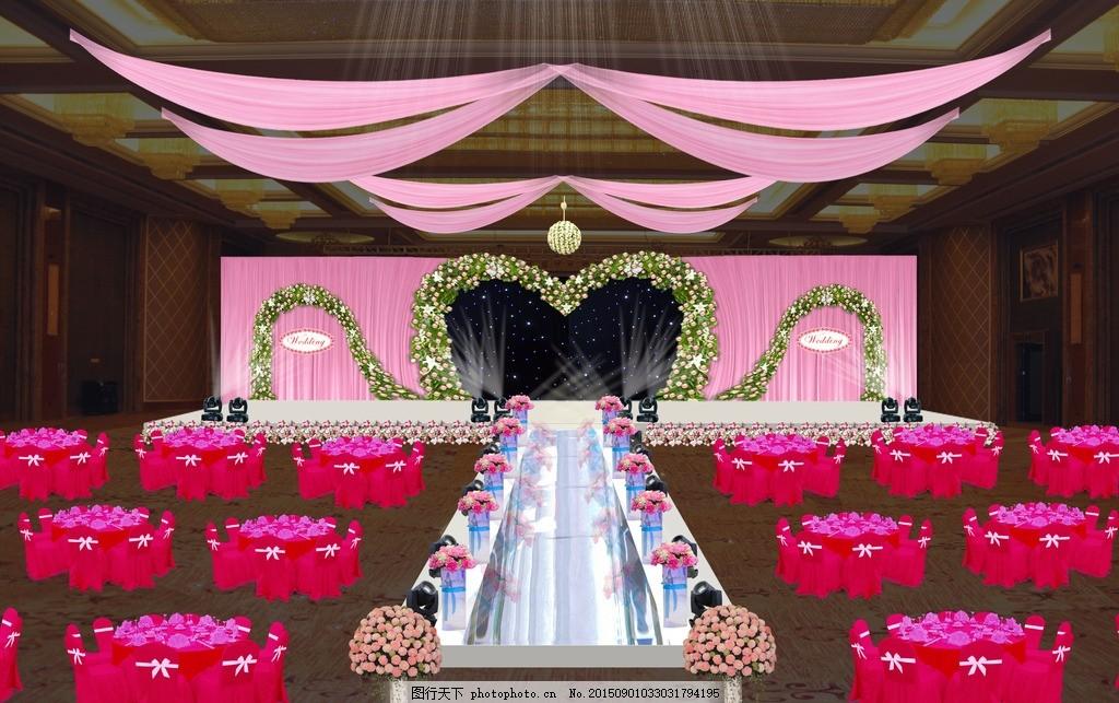婚礼现场效果布场图 桌椅 餐桌 布幔 吊顶 形状 粉色系婚礼 灯光图片