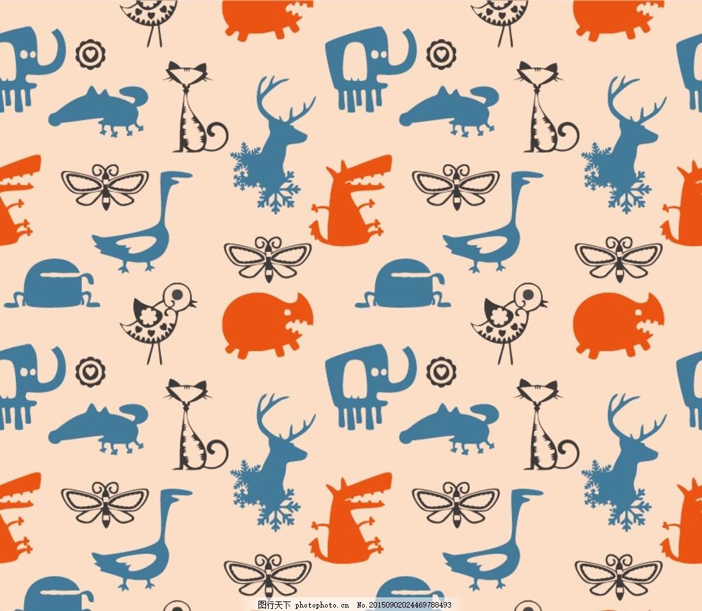 大象 麋鹿 猫 蝴蝶 动物 动物矢量 动物剪影 布花 花布 面料 四方连续