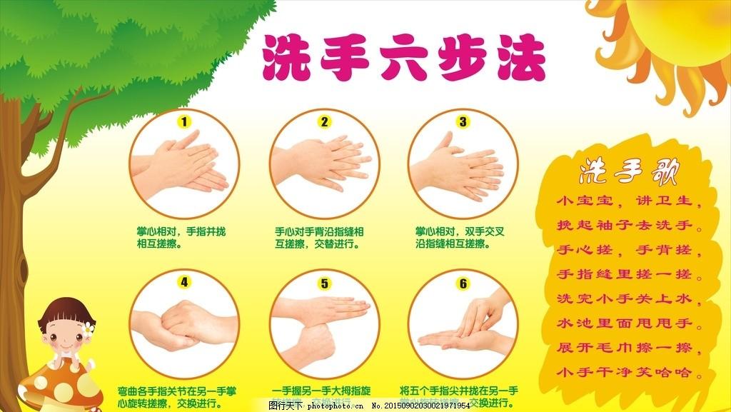 洗手六步法 洗手 学校 幼儿园 幼儿园展板 学校展板 卡通 洗手歌 校园