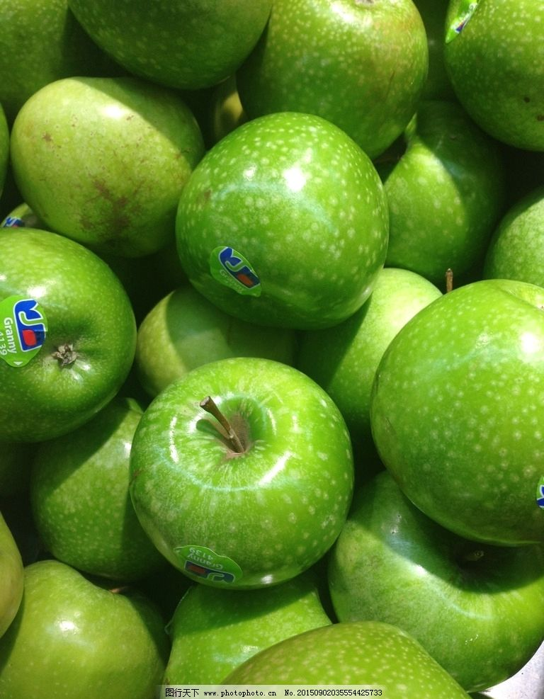 带标签青苹果