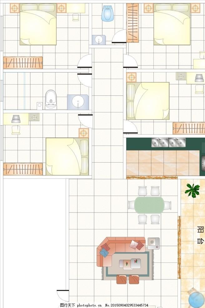 cdr平面图,房间 客厅 餐厅 阳台 洗手间 房子-图行
