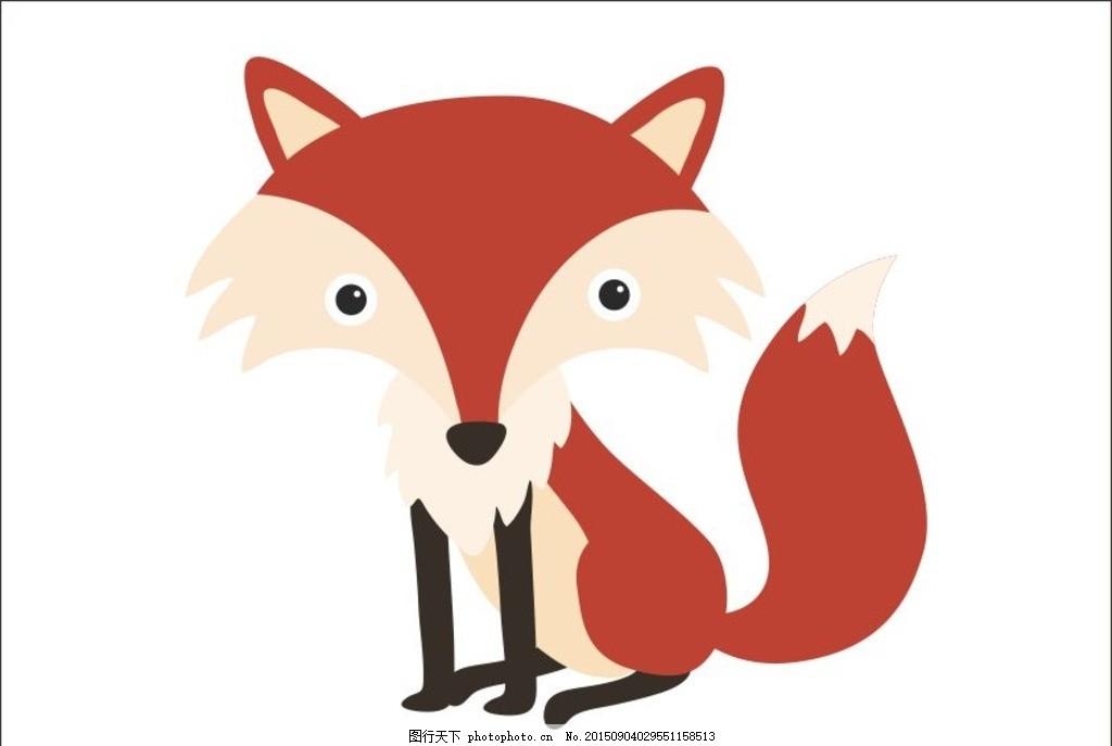 卡通森林动植物,浣熊 猫头鹰 狐狸 棕熊 兔子 鸟-图行