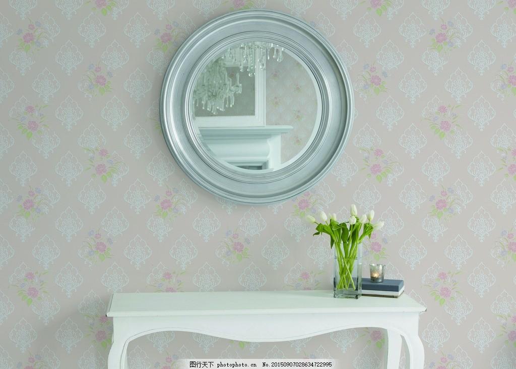 墙纸效果图 客厅 装饰 家居 花瓶 桌子 镜子 欧式 其他 共享墙纸效果