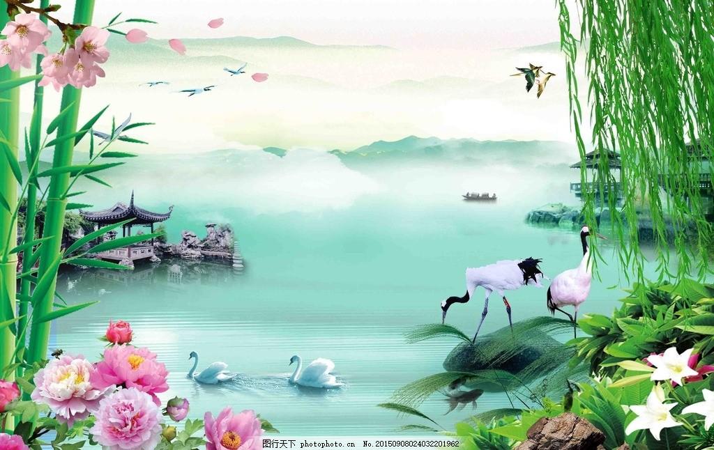 山水情背景墙,梅花 柳树 水墨 竹子 荷花 水画 中堂画