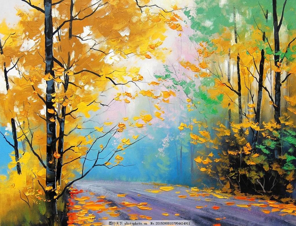 欧式装饰画 油画 热转印图案 树林 个性画 设计 文化艺术 绘画书法 72