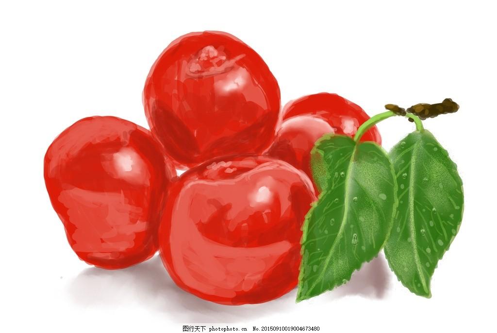 樱桃 红色 水果 果瓜 手绘 原创手绘插画