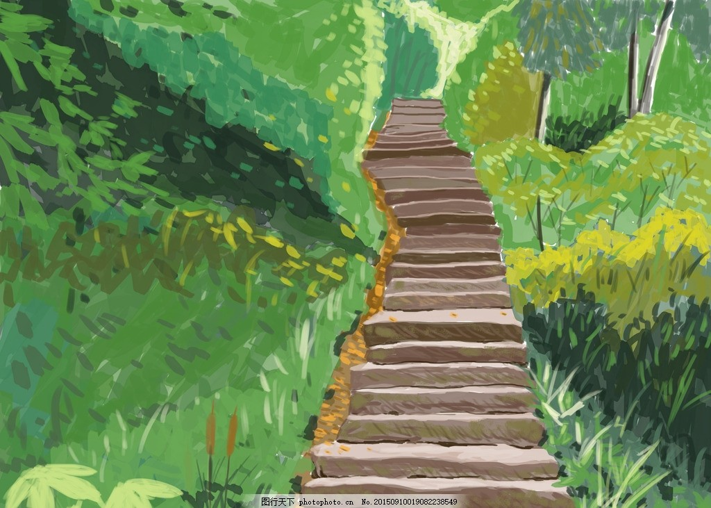 石头台阶 森林 小道 草丛 手绘 原创手绘插画