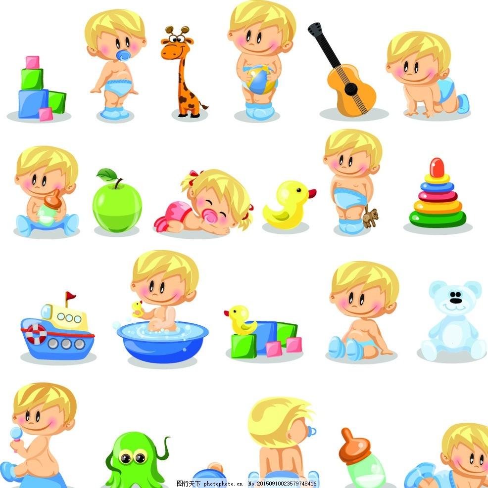 婴儿 儿童 手绘 卡通插画 儿童绘画 幼儿 婴儿用品 漫画 孩子 可爱 玩