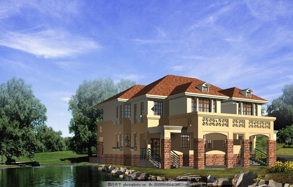 室外效果图 室外        别墅 湖 树木 设计 自然景观 自然风光 200