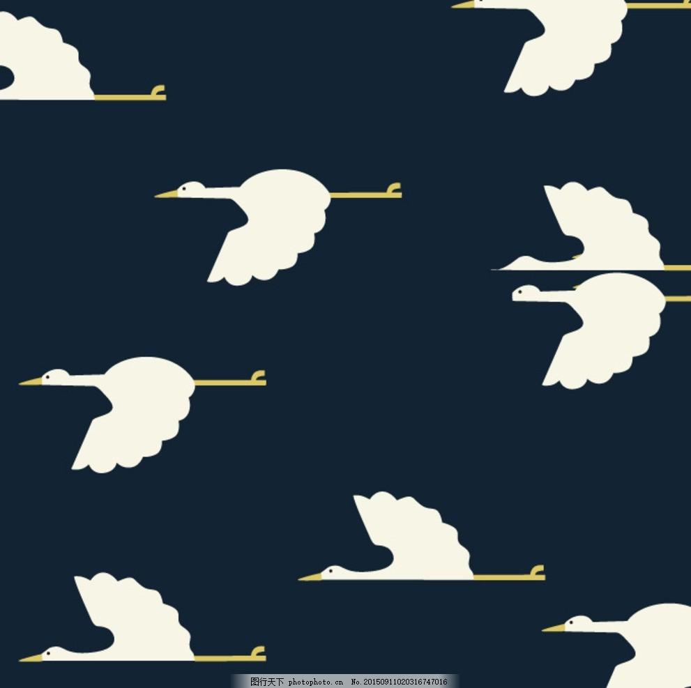 动物 仙鹤 几何 黑白 矢量图 设计 底纹边框 花边花纹 cdr