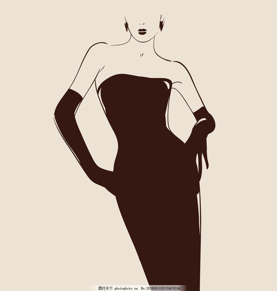 时尚少女 手绘美女 小女孩 女人 晚礼服 女性 服装设计 美女 模特