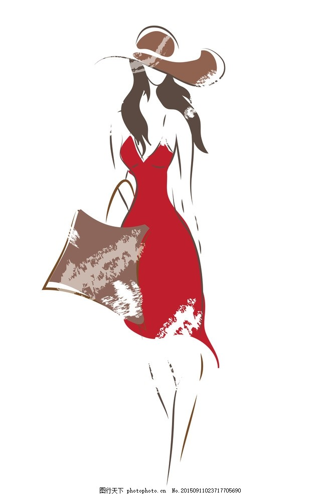 手绘美女 小女孩 女人 女性 服装设计 美女 模特 草图 卡通女生 简笔