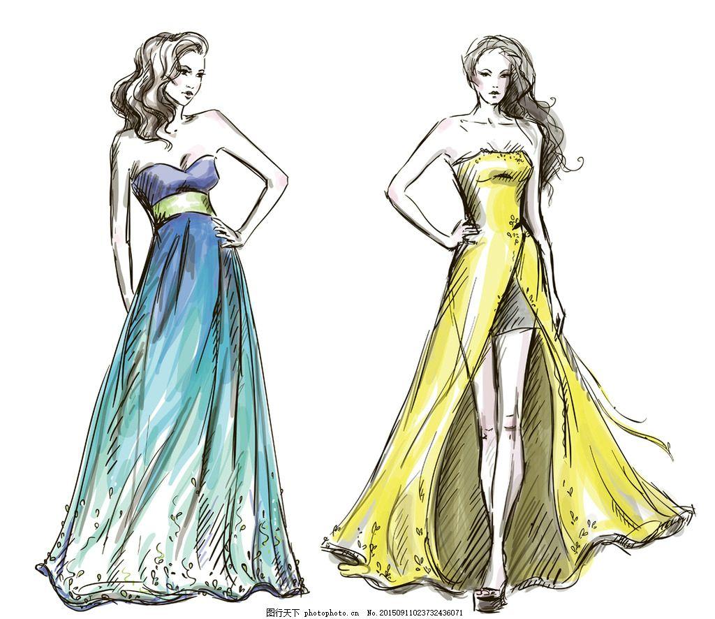 时尚少女 手绘美女 小女孩 女人 女性 裙子 服装设计 模特 草图