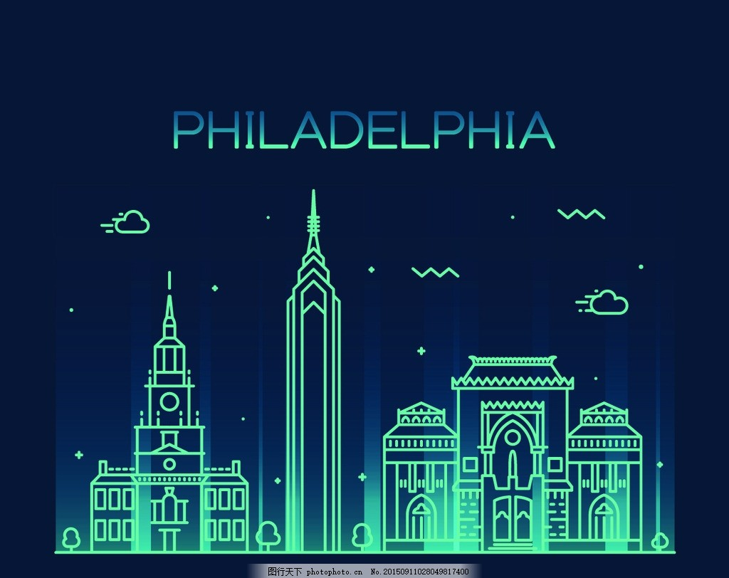 城市剪影 建筑轮廓 建筑群 费城 世界著名城市 金融大厦 手绘