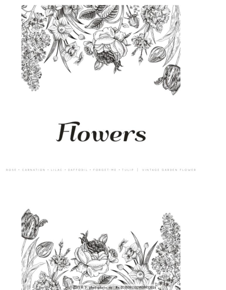 秘密花园 花卉 素描 黑白画