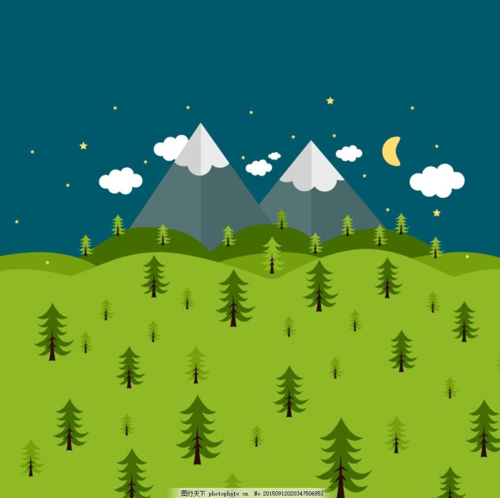卡通 植物 夜空 树木 云朵 星星 月亮 山 设计 底纹边框 花边花纹 ai