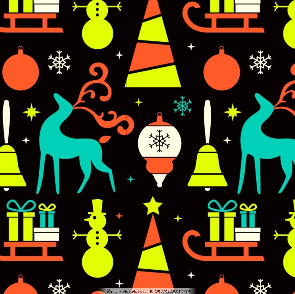 动物 圣诞事物 麋鹿 雪人 雪花 雪橇 礼物 几何 设计 底纹边框 花边