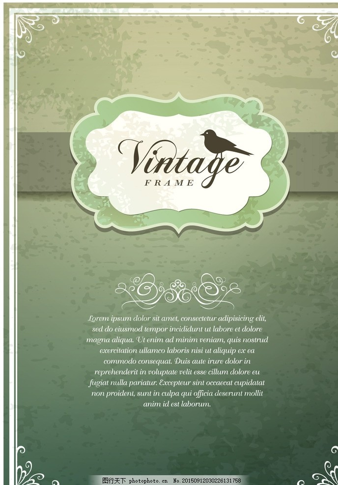 矢量欧式花纹背景素材 欧式花边 老式边框 复古边框 鸟 信纸 设计