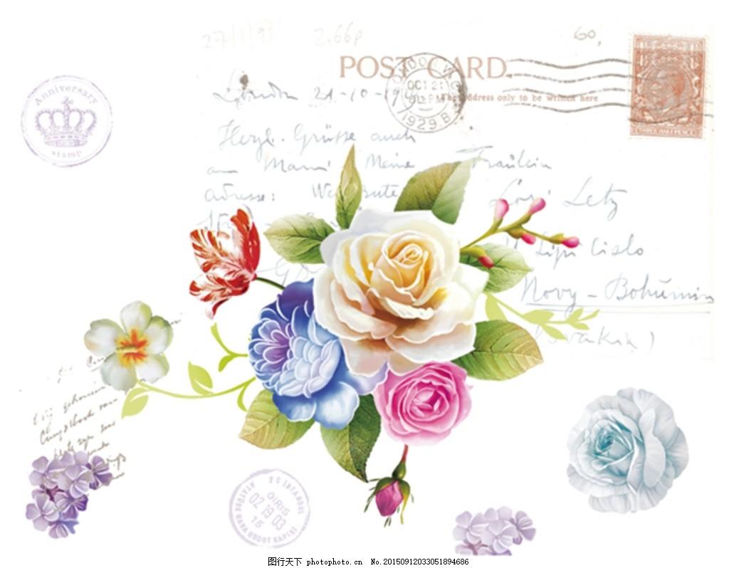 手绘花卉 装饰画 无框画 欧美风 英伦风 欧美花纹 装饰花 花朵
