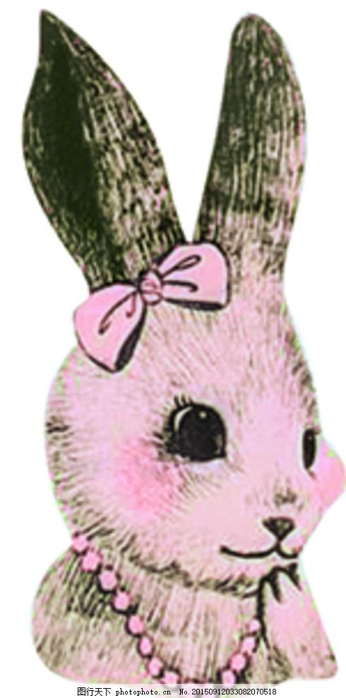 小兔子手绘 数码印花 胸前小兔子 手绘 线描 卡通 卡通动物 设计 psd