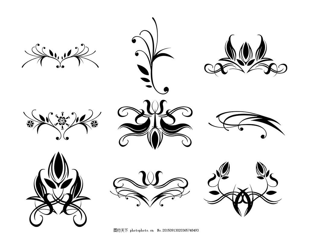 简笔黑色花边花纹 简单笔画 画 黑色 花边 花纹 简单 设计 底纹边框