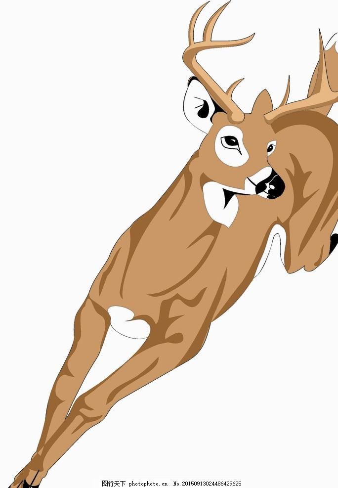 山羊 鹿 动物 奔跑 矢量图 羚羊 梅花鹿