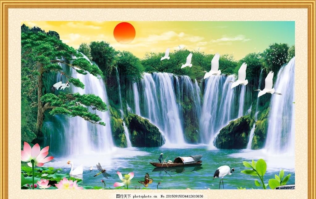 红日初升 山水画 国画 水墨画 风景画 桂林山水画 摄影