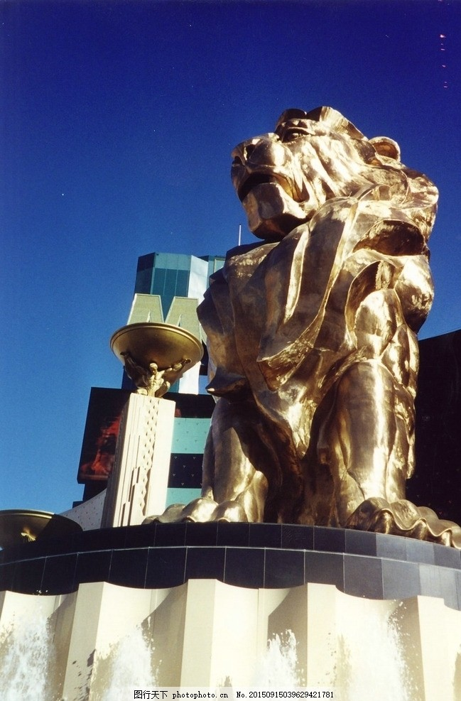 金狮雕塑 欧式素材 权利象征 财富 摄影 建筑园林