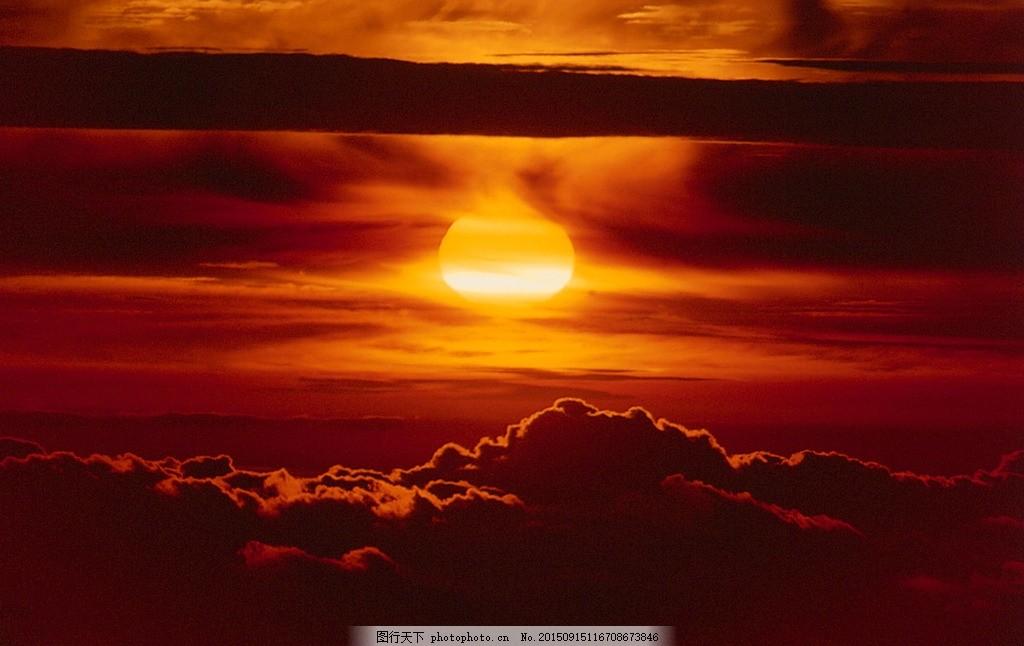 红日 夕阳 落日 日然景色 血红天空 摄影 自然景观 自然风景