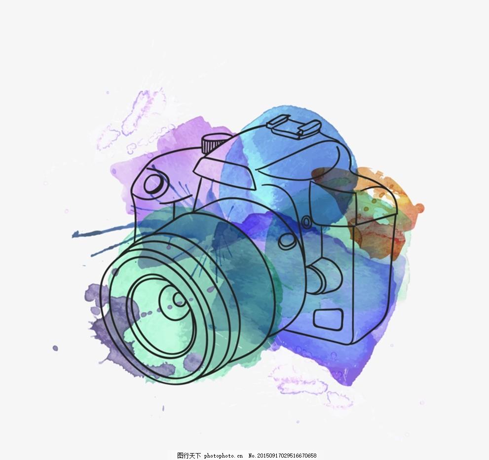 素材 水彩 照相机 相机 彩绘 手绘 颜料 墨迹 墨渍 喷溅 插画 背景