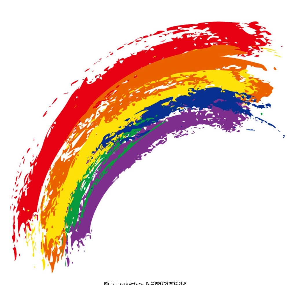 水彩涂鸦彩虹矢量素材 水彩 涂鸦 彩虹 颜料 颜色 油彩 美术 绘画