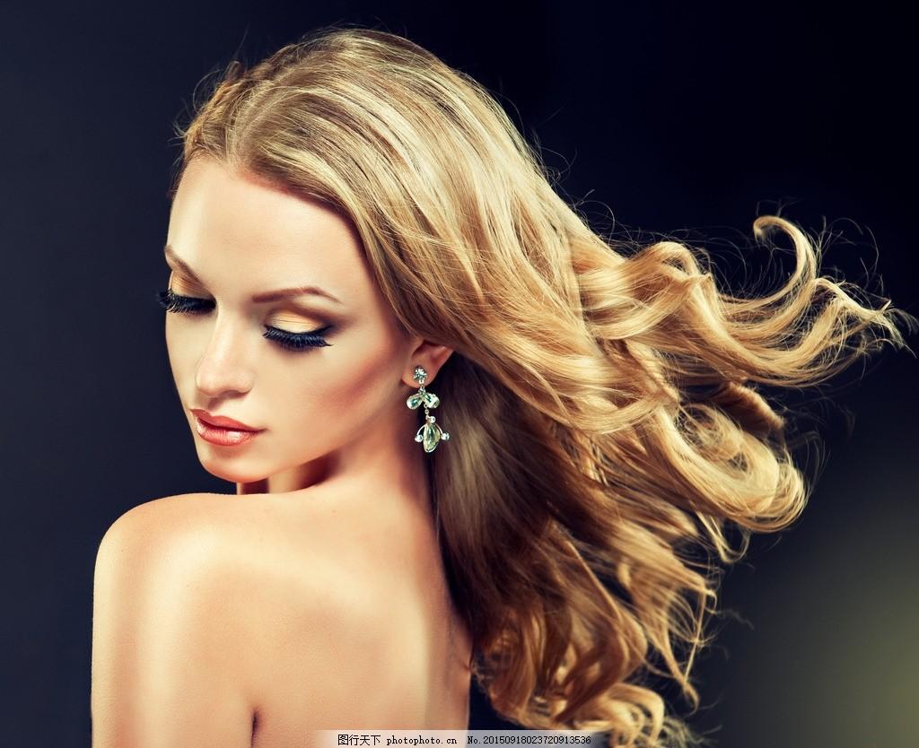 美发模特 美女 卷发 发型 长发 彩妆 化妆 妆容 写真 大片图片
