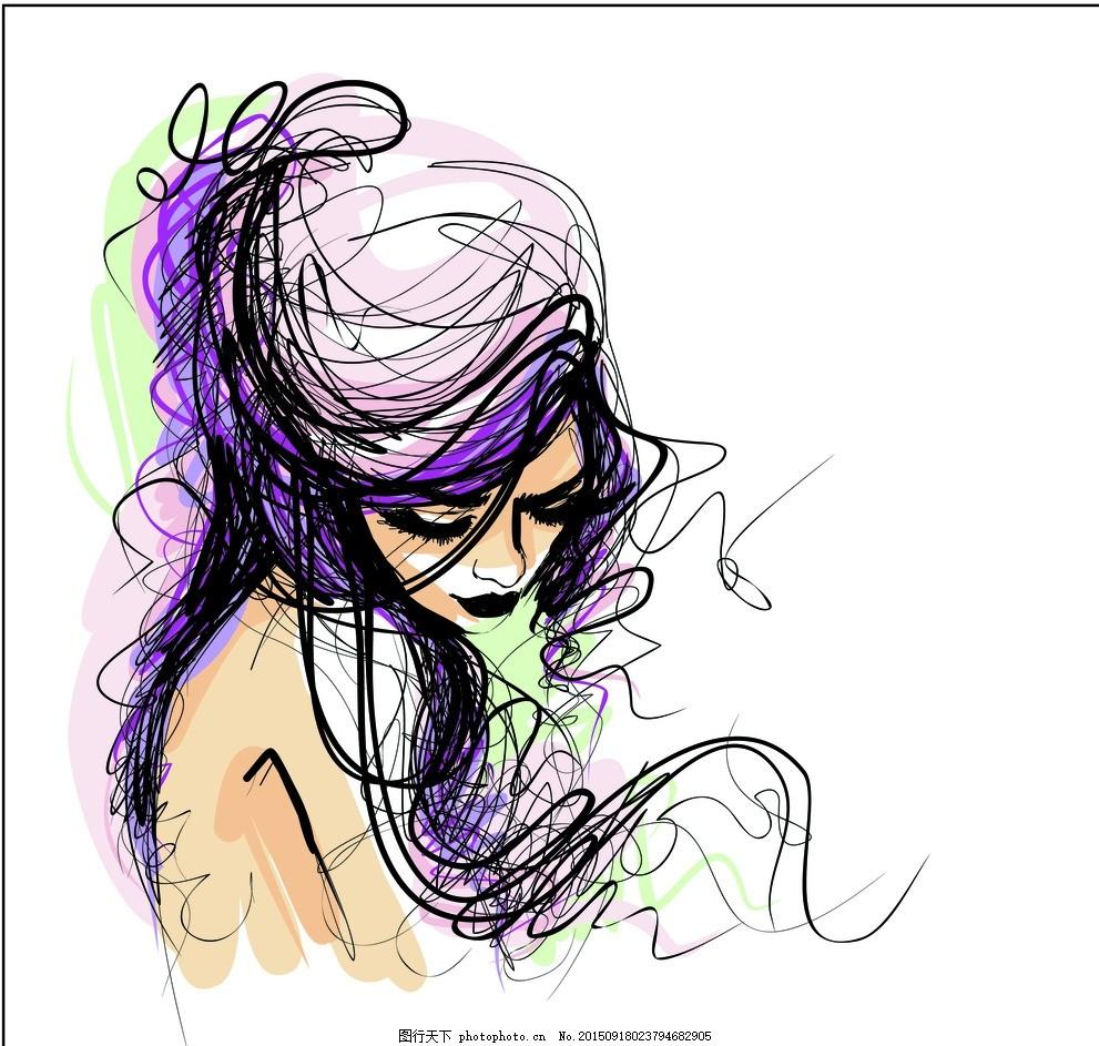 手绘少女 草图 线描 卡通女孩 女人 时尚美女 女性素描 美女 女生 简