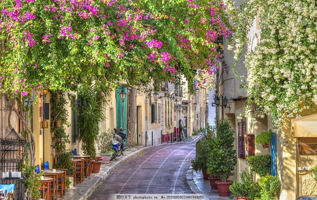 欧洲小镇 街道 街头 小路 小径 鲜花 休闲 胡同 石板路 城市 花草图片