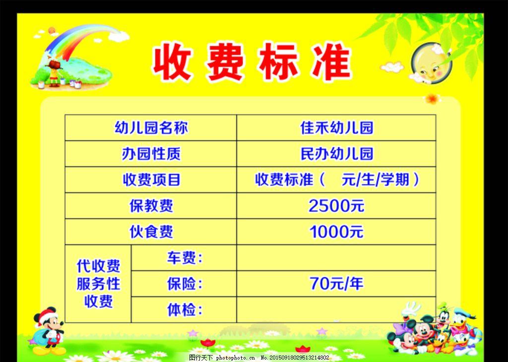 2015 幼儿园收费标准