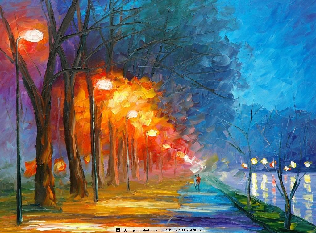 树林装饰画 抽象艺术 夜晚 无框画装饰画 油画 装饰油画 风景油画