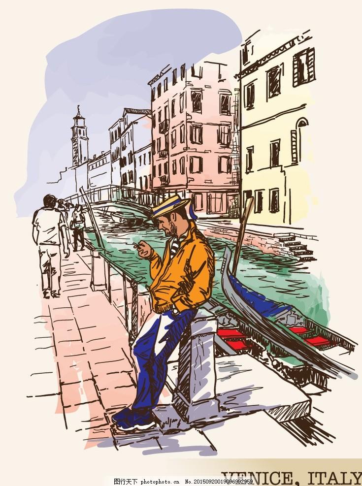 手绘威尼斯 国外建筑 威尼斯水城 卡通 手绘 风景 背景 设计 文化艺