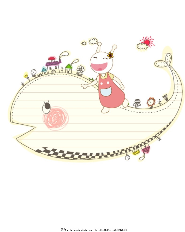 吃货星人海洋风大鲸鱼 海洋 鲸鱼 时尚 可爱动物 卡通壁纸 卡通背景